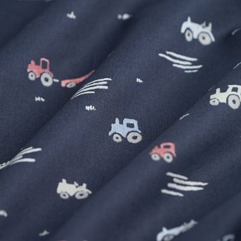 Tissu popeline coton tracteurs bleu marine