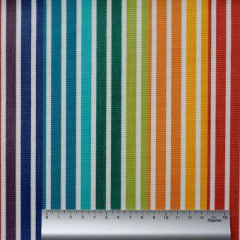 Tissu toile Dralon outdoor double enduction rayé arc-en-ciel