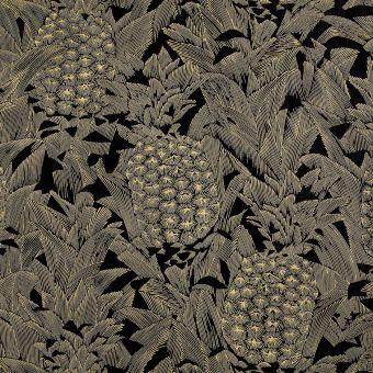 Tissu jacquard ananas noirs