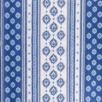 Tissu provençale cretonne enduite sormiou rayé bleu