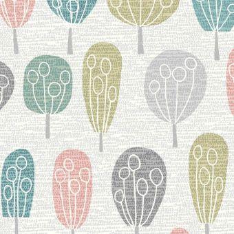 Tissus popeline de coton Dashwood motifs arbres multicolore