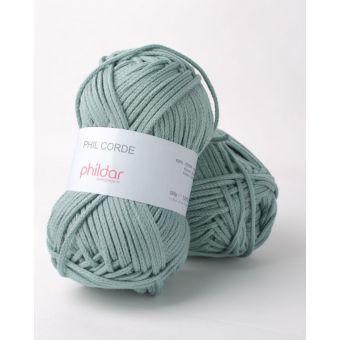 Fil à tricoter Phildar corde vert de gris