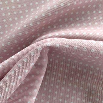 Tissu piqué de coton motifs pois rose