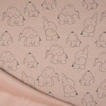 Tissu molleton sweat éléphant rose à envers polaire alpfleece