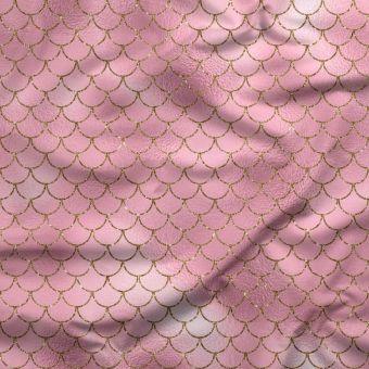 Tissu jersey lourd recyclé pour maillot de bain rose Sirènes - La Panda Love Fabrics