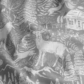 Tissu toile de ramie forêt gris