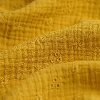 Tissu double gaze broderie anglaise jaune
