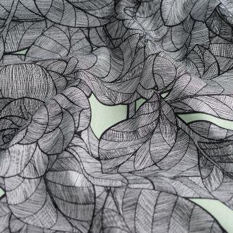 Tissu sergé de coton feuilles fleurs