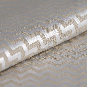 Tissu coton épais beige chevrons