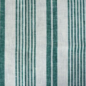 Toile torchon lin raye blanc vert