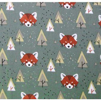 Tissu cretonne de coton anthracite à motifs pandas roux