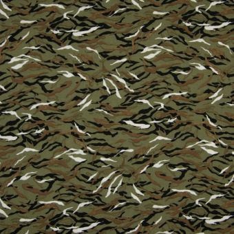 Tissu twill en viscose kaki à motifs camouflage