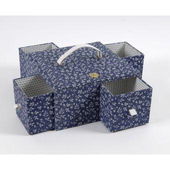 Boîte de couture fleurs bleues rectangle