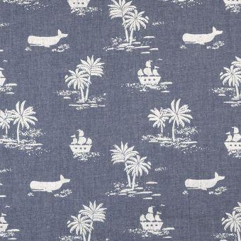 Tissu chambray bleu bateaux et palmiers