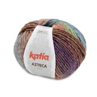Pelote de fil à tricoter Katia Azteca lilas vert orange marron