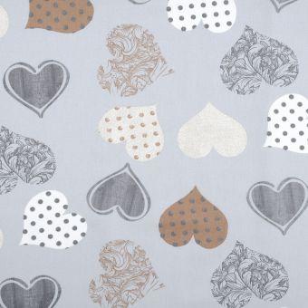 Tissu coton enduit cœurs bleu