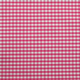 Popeline coton mercerise motif vichy 3 mm fuchsia