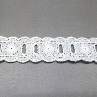 Ruban galon feston broderie fleur ajourée coton blanc - fait en France