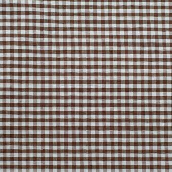 Popeline coton mercerise motif vichy 3 mm chocolat