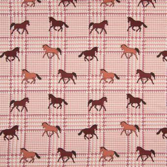 Tissus jersey conton à motifs chevaux et carreaux - rose
