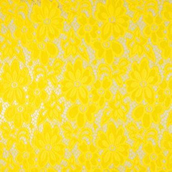 Tissu dentelle florale jaune