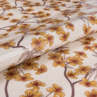 Tissu enduit PVC brillant fleurs de pruniers jaune - AU Maison