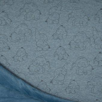 Tissu molleton sweat éléphant bleu à envers polaire alpfleece