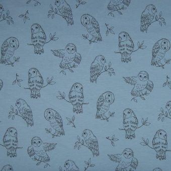 Tissu jersey de coton à imprimé chouettes - bleu