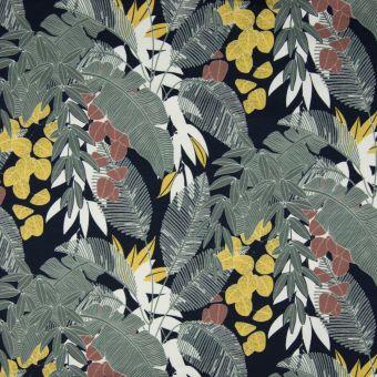 Tissu molleton sweat bio French Terry feuilles palmiers bleu marine