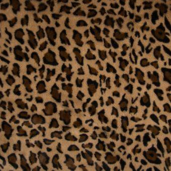 Tissu fausse fourrure léopard taupe