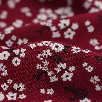Tissu crêpe viscose fleurs de cerisier bordeaux