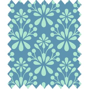 Coupon de tissu Gütermann light breeze fleuris bleu