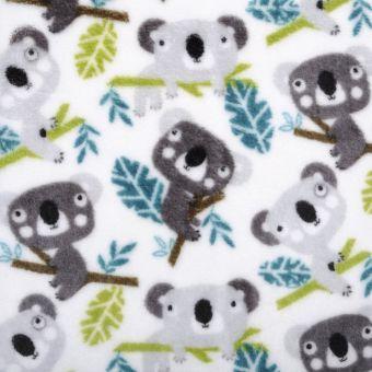 Tissu polaire imprimé kaolas gris