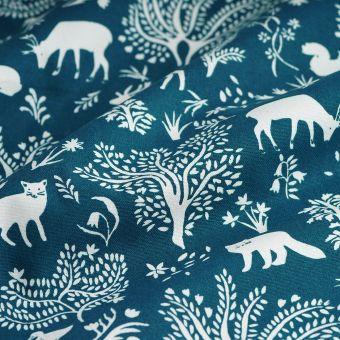 Tissu coton épais bleu phosphorescent animaux