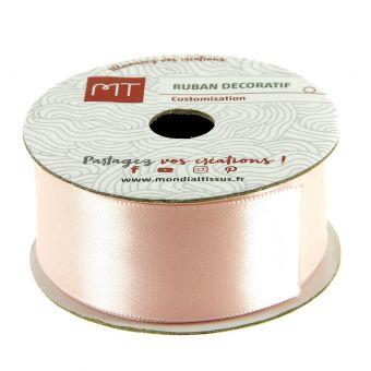 Bobine satin ruban rose poudré 25 mm