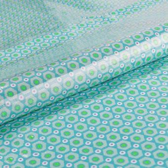 Tissu Petit Pan coton enduit brillant menthe à motifs géométriques mikko