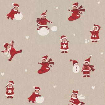 Tissu Noël coton épais enfants et neige