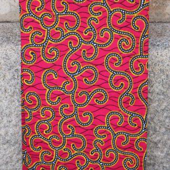 Tissu wax motifs tiges fuchsia