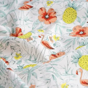 Tissu popeline coton bio flamants fleurs