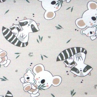 Tissu cretonne coton koalas et ratons laveurs - écru