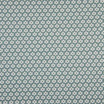 Tissu popeline coton à motifs marguerites vert gris