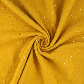Tissu double gaze à pois dorés