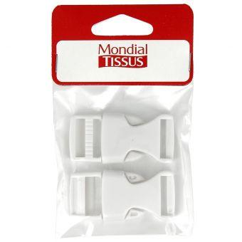 Boucles à ouverture rapide blanches en plastique 20 mm