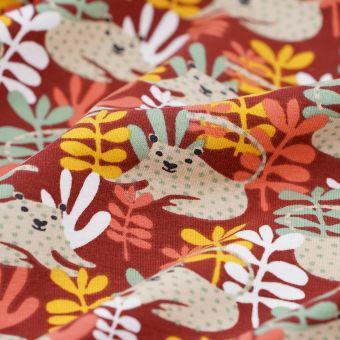 Tissu Jersey coton el panthère bordeaux
