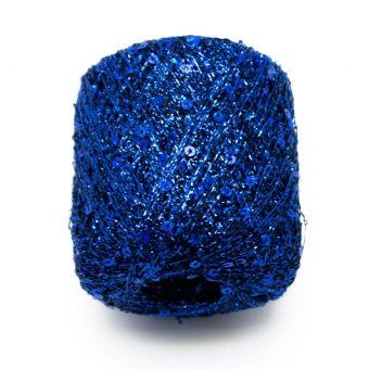 Pelote à tricoter brillante pluie d'étoiles bleu - Plassard