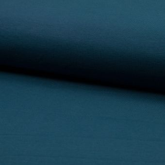 Tissu molleton sweat french terry coton bio bleu pétrole