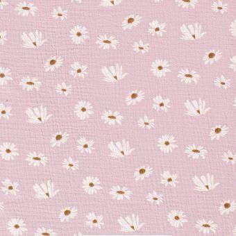 Tissu double gaze coton marguerites rose