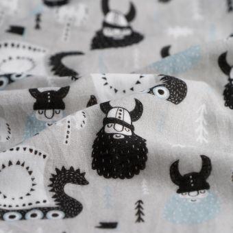 Tissu triple gaze coton bio pirates gris - Panda Love