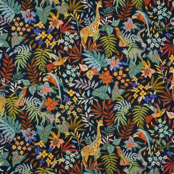 Tissu sergé bleu jungle
