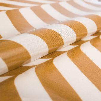 Tissu enduit brillant grandes rayures moutarde - AU Maison